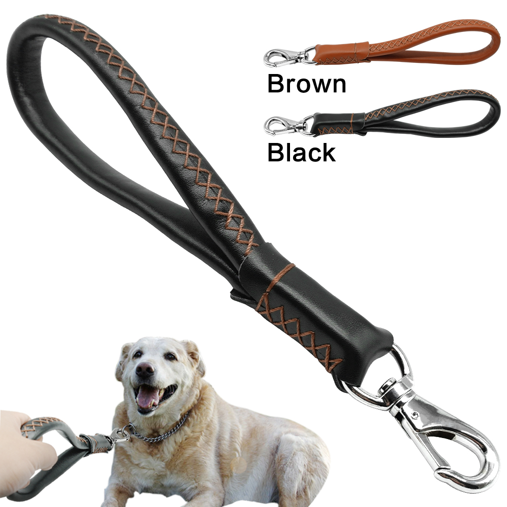 Real Leather Dog Leash Short Dog Leash Genuine Leather Traffic Lead for Large Dogs Training and Walking Heavy Duty 3/4 wide
