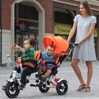 Nieuwe tweeling twee kinderen driewieler dubbele bike seat baby push pedaal kinderwagen kinderwagen, achterbank kan liggen