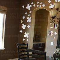 Land Stijl Meerdere Little Bloemen 3D Acryl Spiegel decoratie Muursticker Decor Woonkamer Kinderkamer Decoratie R083