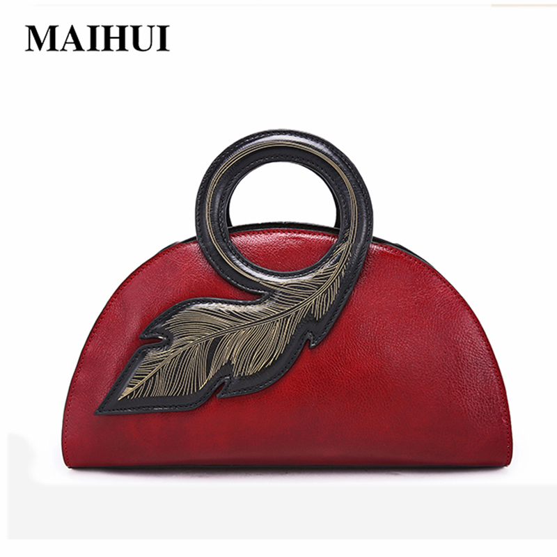 Maihui women leather handbags quality ladies shoulder bags cowhide real genuine leather top-handle bags new designer shell bag 2018 new fashion top handle bags women cowhide genuine leather handbags casual bucket bags women bags rivet shoulder bags 836