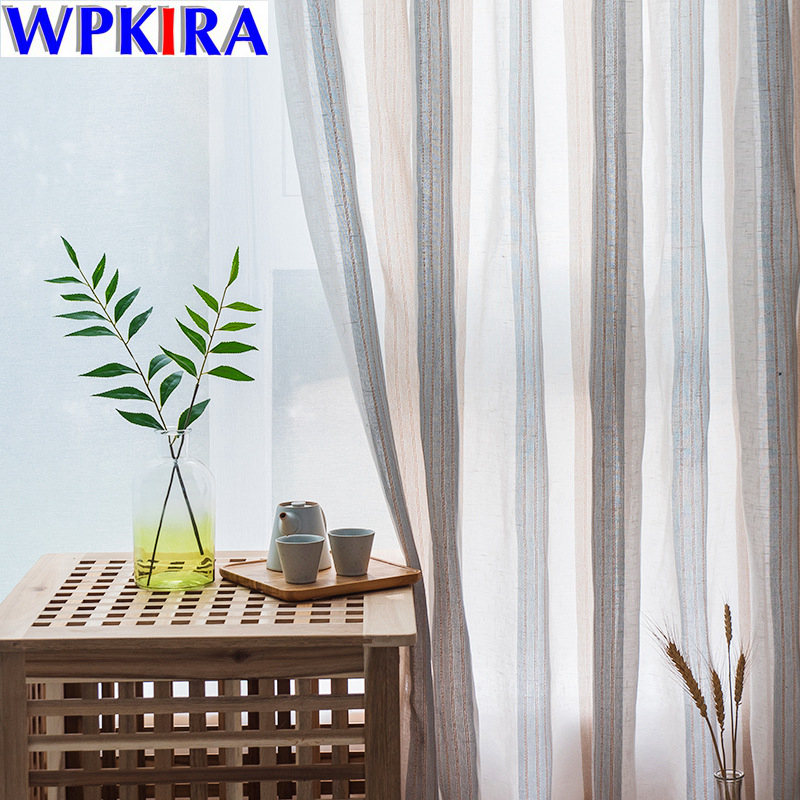 New Modern Vertical Stripes Curtain Tulle Fabrics for Bedroom Window Curtain for lining Divider Sheer Voile curtain Panels 30