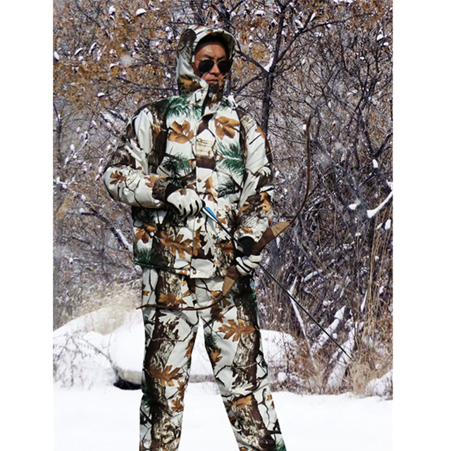 Forro grueso para clima frío forro polar Pino camuflaje nieve abrigo de caza biónico chaqueta y pantalones invierno impermeable Ghillie trajes