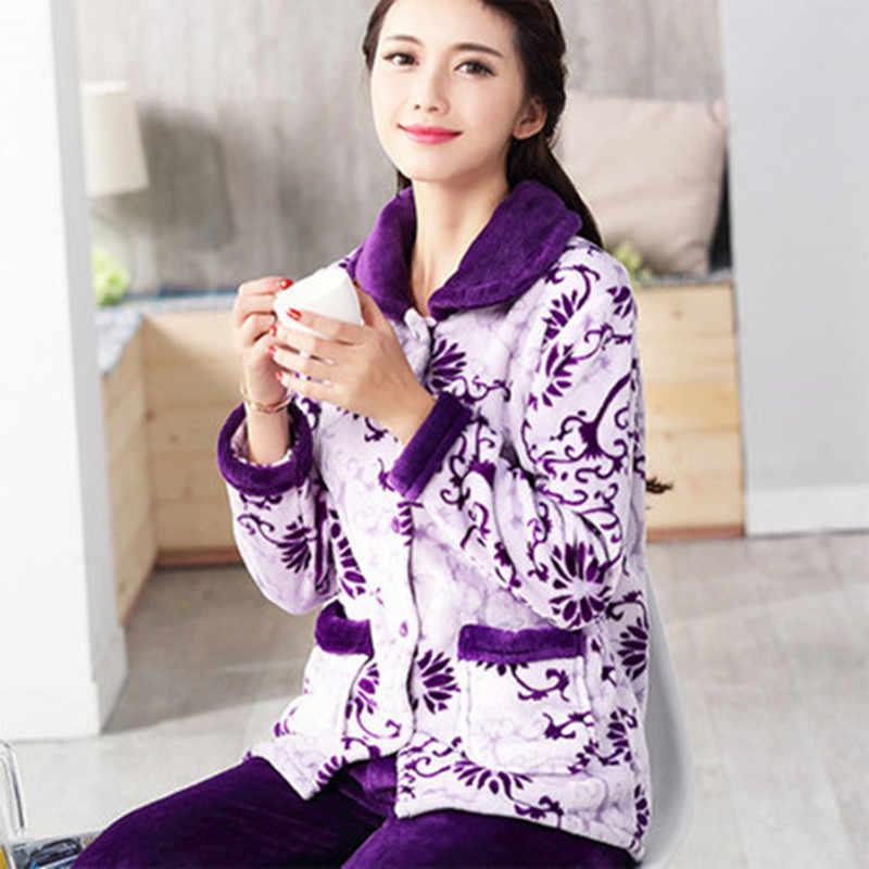 5bd7235f56 ... Mujer Pijamas de invierno conjunto caliente Sexy pijamas de franela de poliéster  pantalón lleno dama dos ...