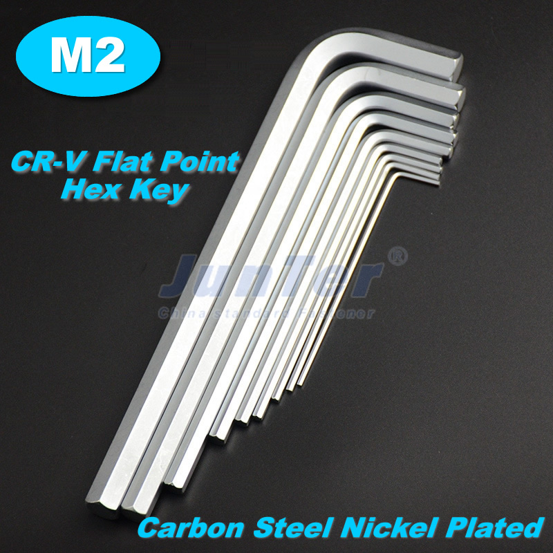 10pcs/lot <font><b>M2</b></font>(<font><b>2mm</b></font>) CR-V Flat Point Carbon Steel Nickel Plated Hex Key Allen Wrench Metric image