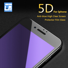 5D Ray Anti-blue High Screen Protector Film Glass for iPhone X 8 7 6 6s Plus HD Full Cover Tempered Glass for iPhone XR XS MAX