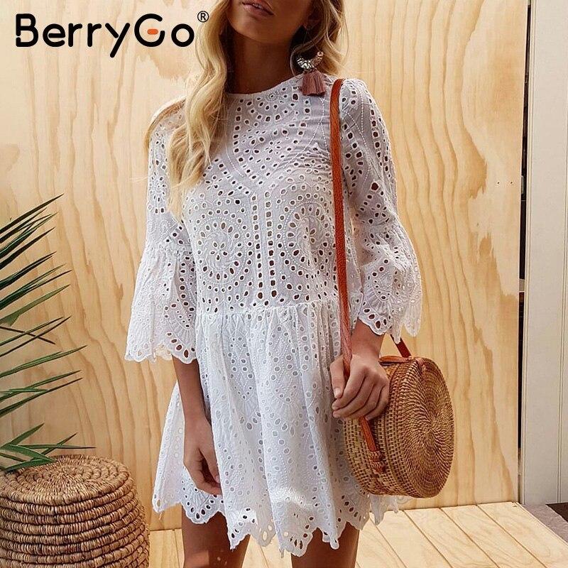 BerryGo ricamo In Pizzo di cotone mini vestito donna Ruffle manica causale abito bianco Scava fuori primavera abito corto abiti