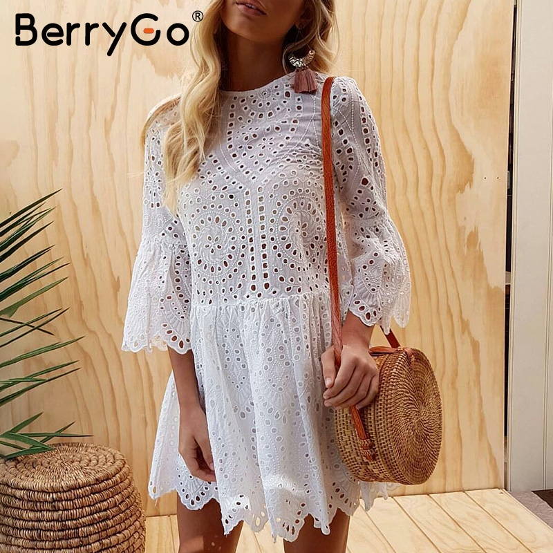 BerryGo Lace embroidery cotton mini dress women Ruffle sleeve causal white dress Hollow out spring short dress vestidos hollow out embroidery panel dress