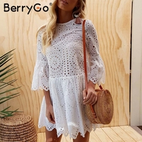 BerryGo Lace Embroidery Cotton Mini Dress Women Ruffle Sleeve Causal White Dress Hollow Out Spring Short