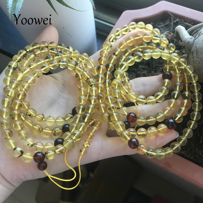 Yoowei 7mm Natural Green Amber Bracelet for Unisex Genuine 108 Beads Plant Amber Mala Meditation Buddhist Scenery Amber Jewelry cheyenne amber