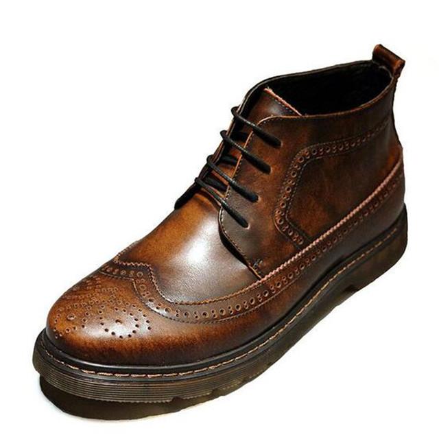 Estilo británico Otoño Hombres botas de cuero Genuino de La Vendimia Brogue Zapatos de Suela de Músculo de la Vaca de tacón Bajo botines Masculinos 2/5