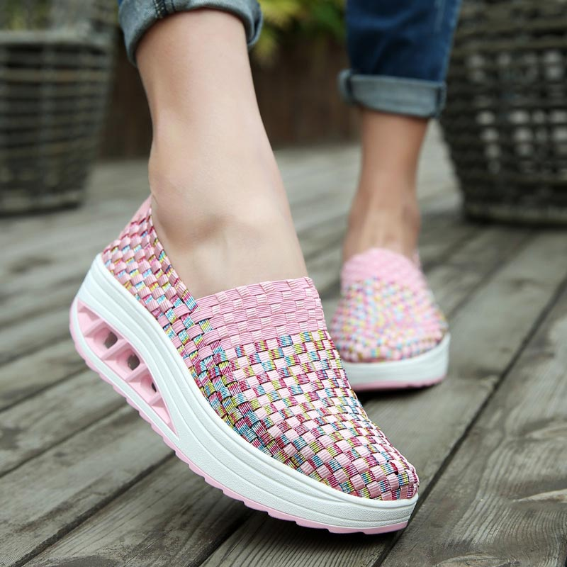 Slip-on Women's Platform Sneakers Women Running Shoes For Women Sports Shoe Sport Women Pink Slimming Swing Toning Fitness A-251