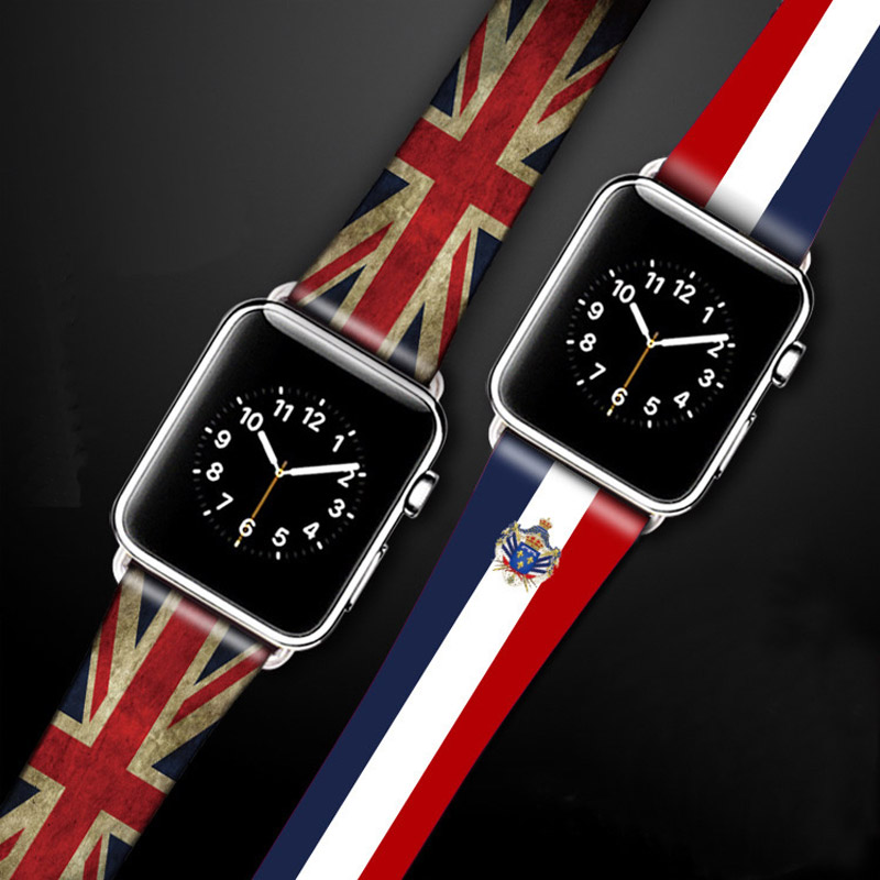 For Apple Watch Series 1 2 3 Watch Strap Genuine Leather Flag Style Watch Band Watchbands For Apple iWatch 38mm 42mm Bracelet