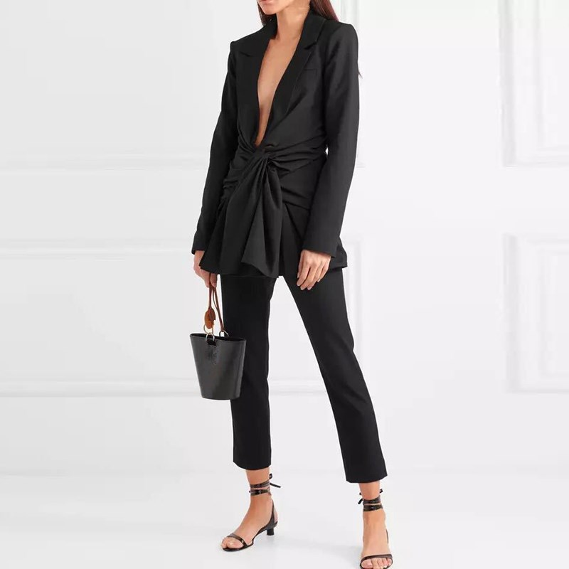 2019 Women Office Lady Sexy Blazer Solid Elegant Slim Tunic Deep V Neck Black Long Blazer
