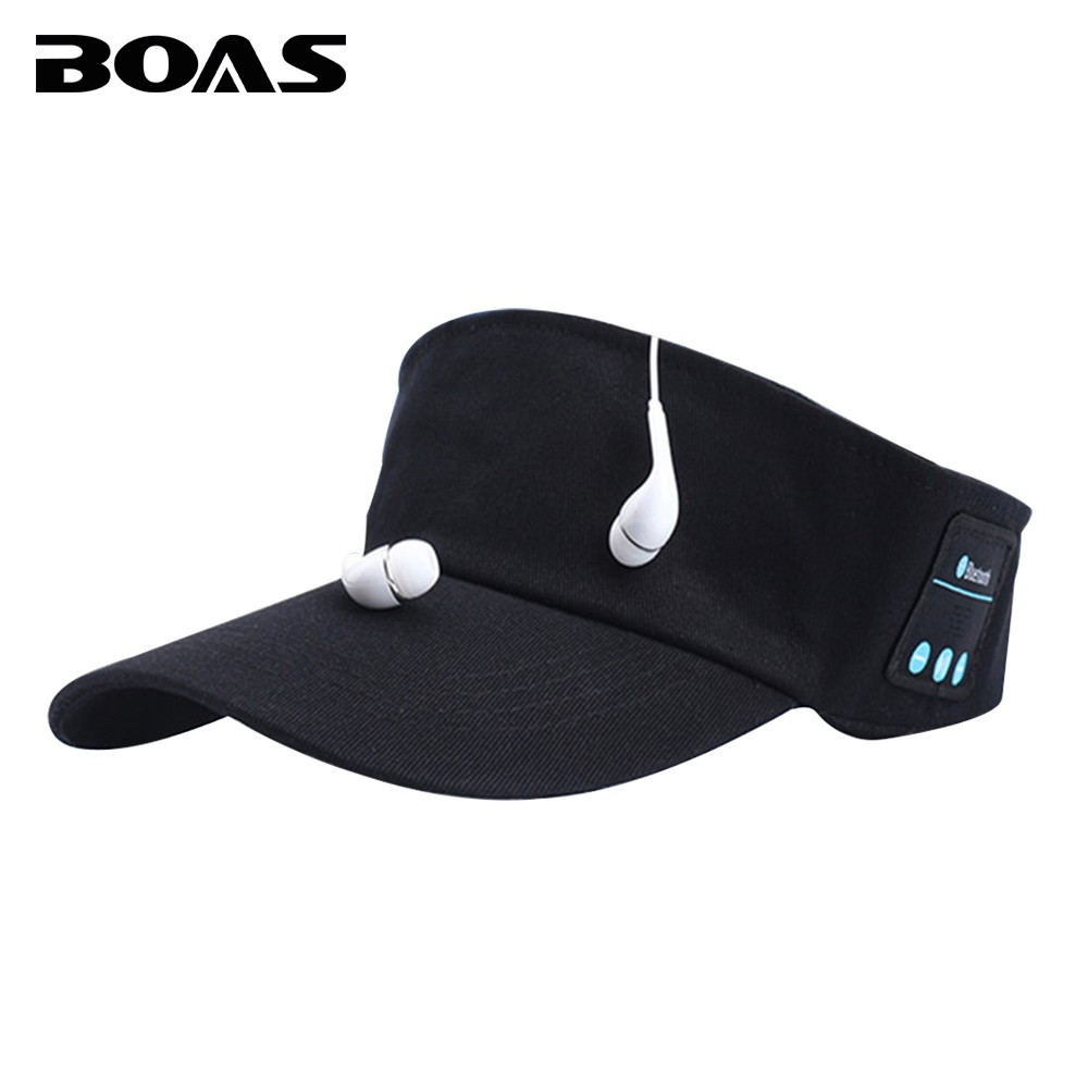 BOAS Portable Bluetooth Handfree Music Cap Wireless Stereo Outdoor Sport Running Headphone Headset with Mic for Xiaomi IOS Phone