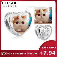 Personalized Custom Photo 925 Sterling Silver Animal Cat Crystal Heart Charms Beads Fit Pandora Bracelet Necklace DIY Jewelry(China)