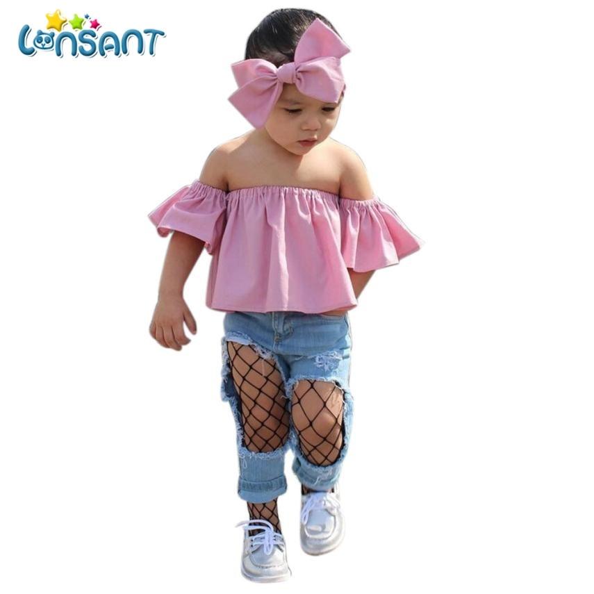 LONSANT 2018 Hot Lovely Conjunto Menina Kids Baby Girl Off Shoulder Ruffle T-Shirt Tops Summer Girls Clothes Set Dropshipping