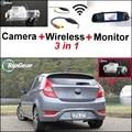 3 in1 Special Camera + Wireless Receiver + Mirror Monitor Basy DIY Back Up Parking System For KIA Rio K2 Pride Sedan 2011~2015