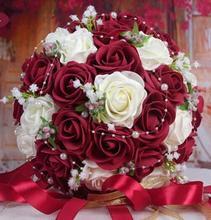 2020 flores artesanais bonitas, flores de rosa artificiais de pérolas, acessórios de renda de noiva, buquês de casamento com fita
