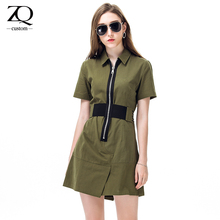 ZiQing 2017 Spring Women Clothing Female Dress Casual Zipper Front Turn-down Neck Army Green Short Sleeve Fashion A-Line Dress