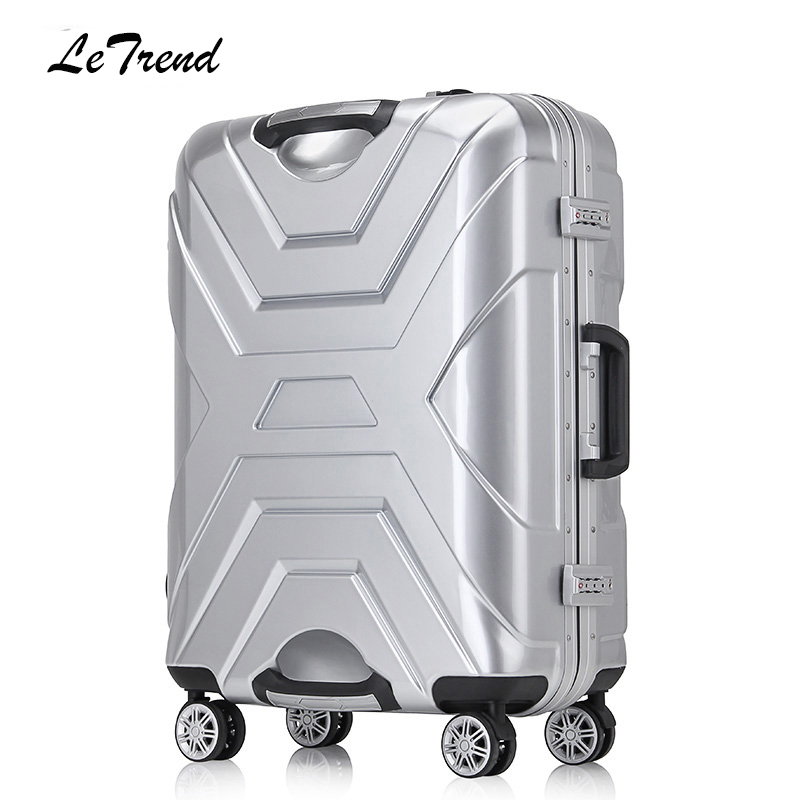 LeTrend New Fashion Aluminum Frame Rolling Luggage Female Student Wheels Suitcase Spinner Password Carry On Travel bag Trolley