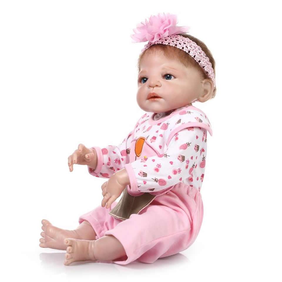 Full Silicone Vinyl Reborn Baby Dolls Realistic Pink Princess 23'' Baby Dolls Girl Bathe Toy So Truly Russian Newborn or Sale full silicone reborn dolls