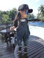 WENDYWU Mode 2017 Nieuwe Meisjes Jean Overalls Herfst Kinderkleding Jardineira Infantil Menina Lange Denim Jumpsuit Kids Overall