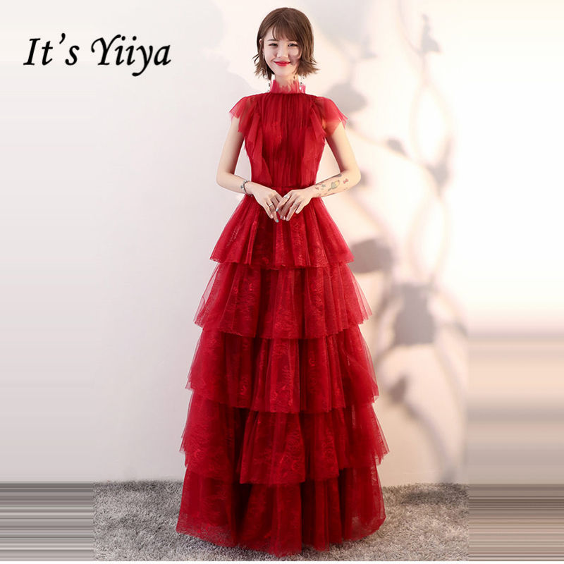 It's Yiiya Evening Dresses 2018 Wine Red Sleevless Floor Length Sexy Backless Fashion Designer Evening Dress Party Gown LX920