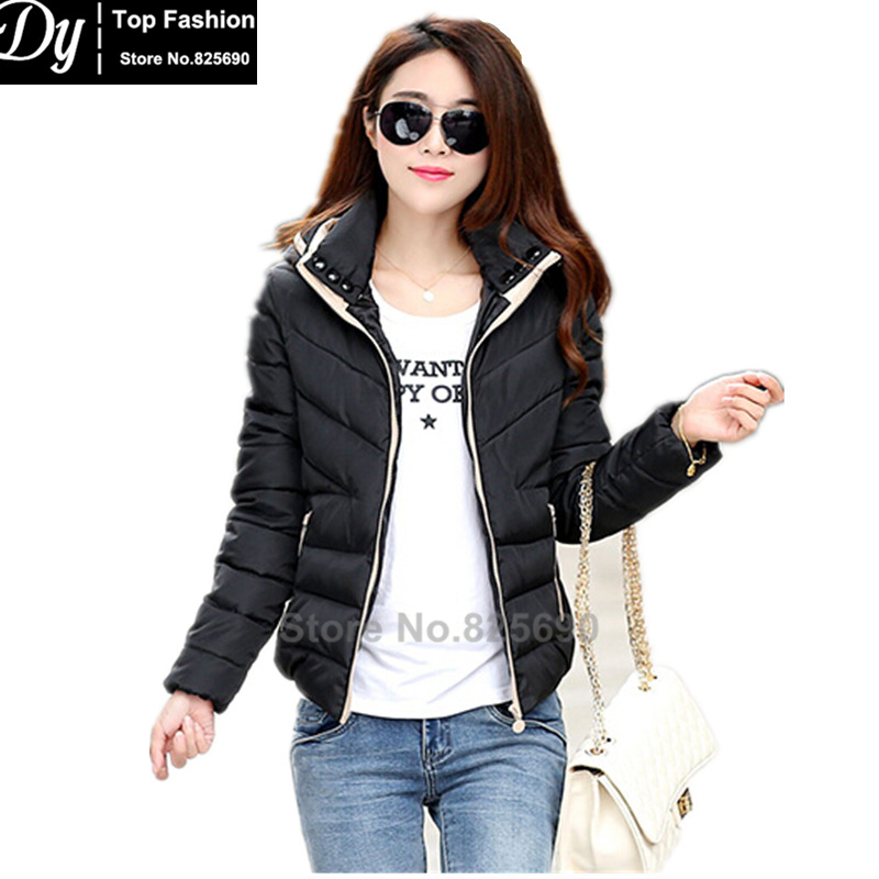 New Wadded Winter Jacket Women Cotton Short Jacket Fashion 2017 Girls Padded Slim Plus Size Hooded Parkas Female Coat
