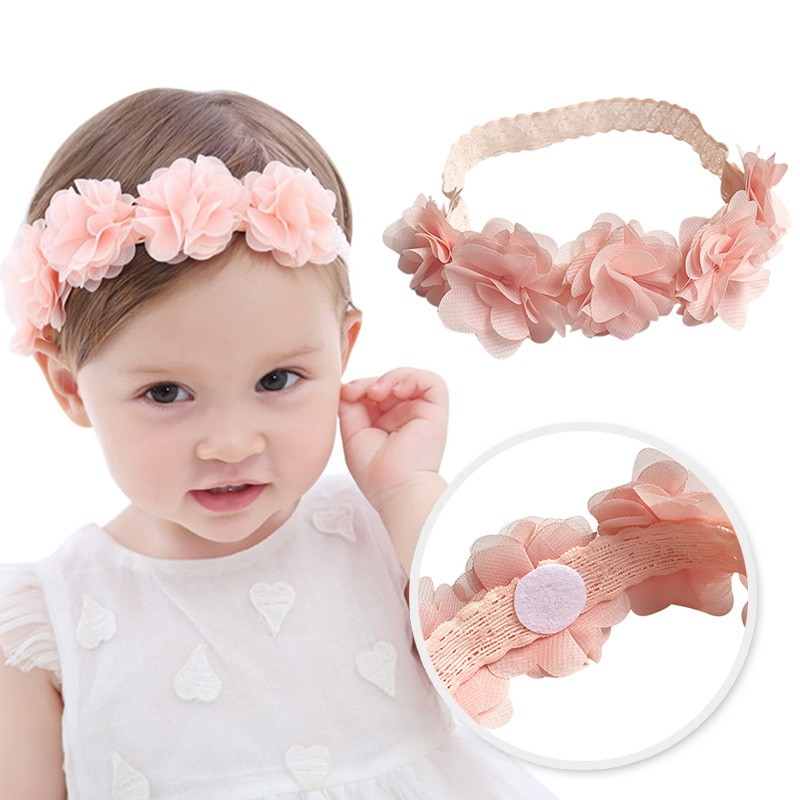 Baby Flower Headband Pink Ribbon Hair Bands Handmade DIY Headwear Hair accessories for Children Newborn Toddler 20pcs lot girl hair bow headband for newborn infant toddler hair accessories diy grosgrain ribbon bow elastic hair bands