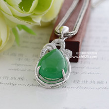 Black silver jewelry wholesale 925 sterling silver jewelry silver green chalcedony pendant inlaid CZ 040315w Ms