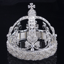2016 Quinceanera Chic Regal Royal White Gold Jewelry Crowns And Tiaras Women Rhinestone Byzantine Luxury Headwear Wedding Brides