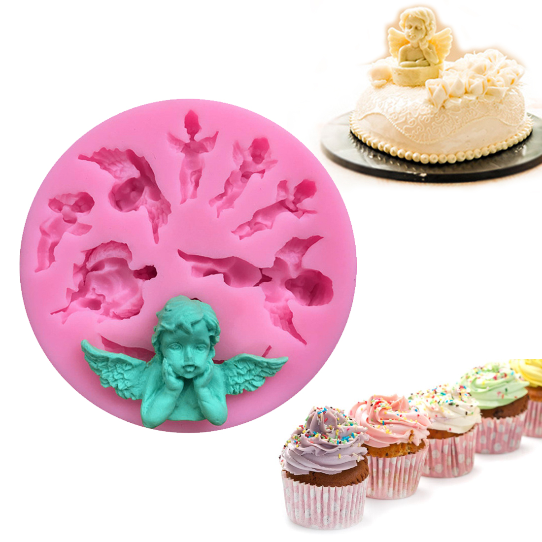 Baking Forms 1PC Cake Pan Angel Baby Silicone Soap Mold Fondant Cake Decorating Tools Kitchen Chocolate DIY Candy Molds
