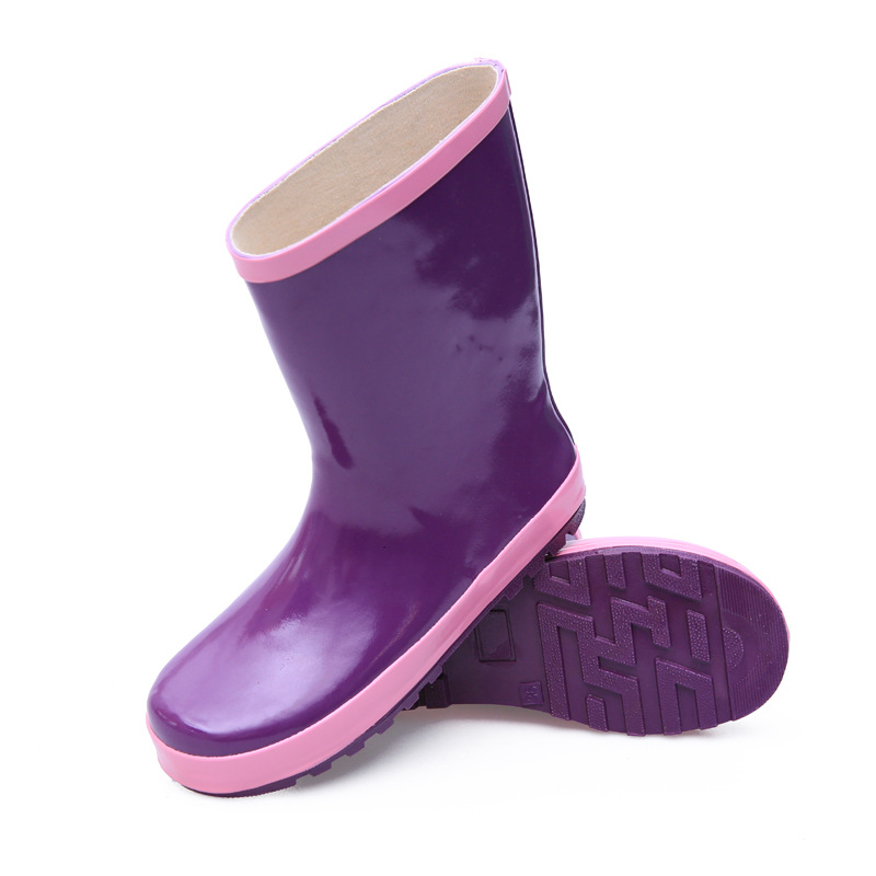 Hellozebra 2018 New Women Purple Rubber Rain Boots Flat Heels Mid-calf Rainboots Waterproof Water Shoes Woman Wellies Boots