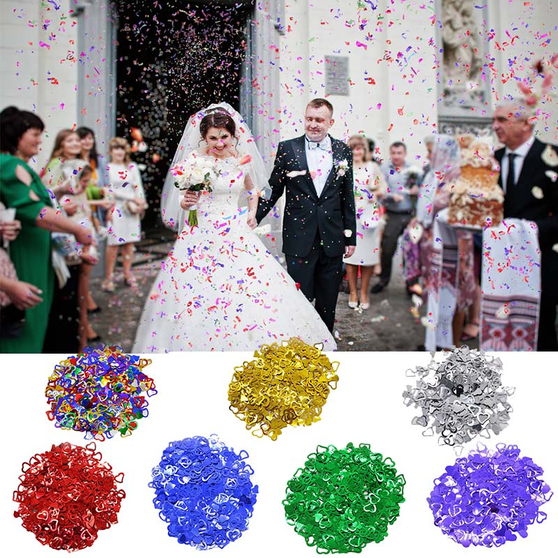 600pcs/lot MultiColor Sparkling Love Heart Wedding Party Festival Confetti Table Decoration Decorative Supplies Valentine's Day