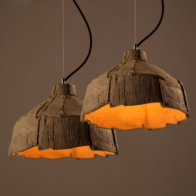 Retro Creative Cement Chandelier Dining room hanging Lamps Fixtures  handmade lighting(China (Mainland)