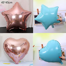 New 18-inch rose gold Star and Heart aluminum balloon children's birthday party Bride and groom wedding decoration balloons(China)