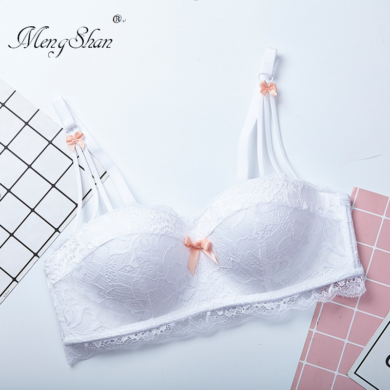 MengShan underwear women Sexy lace bow small chest gathered half cup 1/2 comfortable breathable steel ring bra
