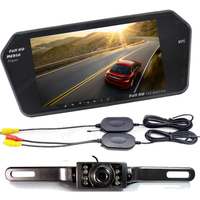7 Inch TFT bluetooth Car Rear View Monitor mp5 with long plate night vision rearview camera wireless transmitter receiver