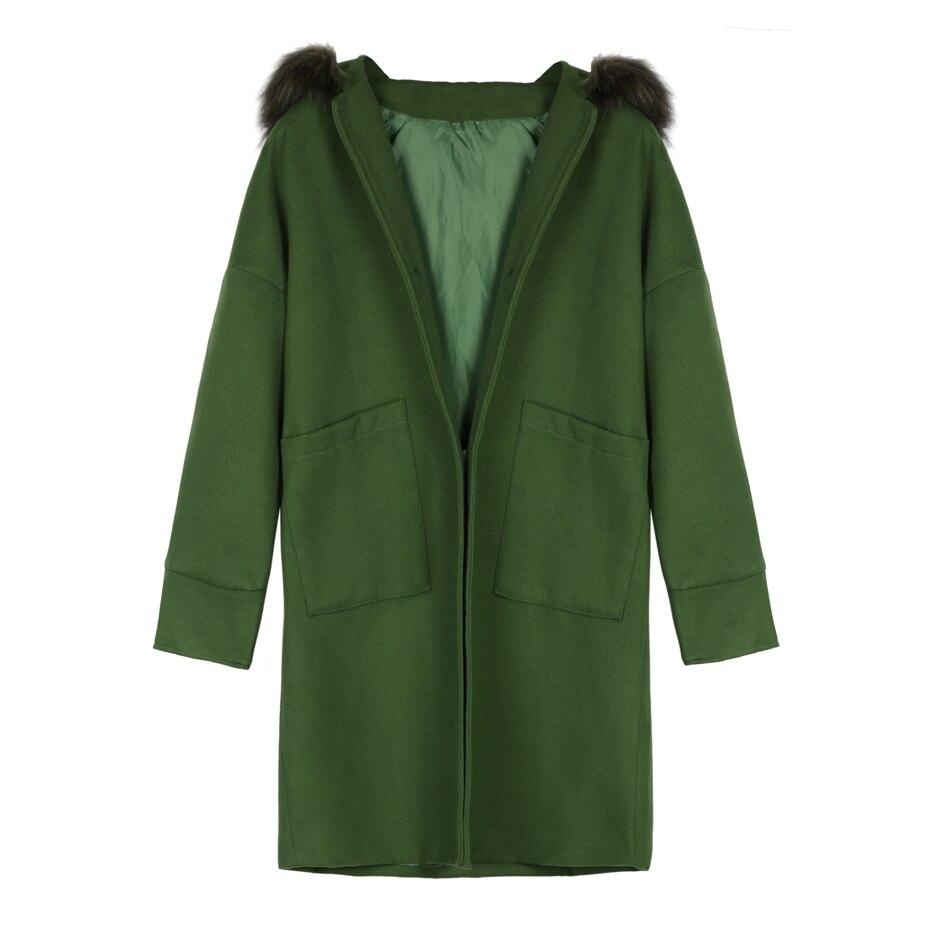 À capuchon femmes manteau d'hiver en fausse fourrure chaude outwear casual mi-longue-manteau vert lâche plus la taille 2XL mélanges laine long manteau femmes