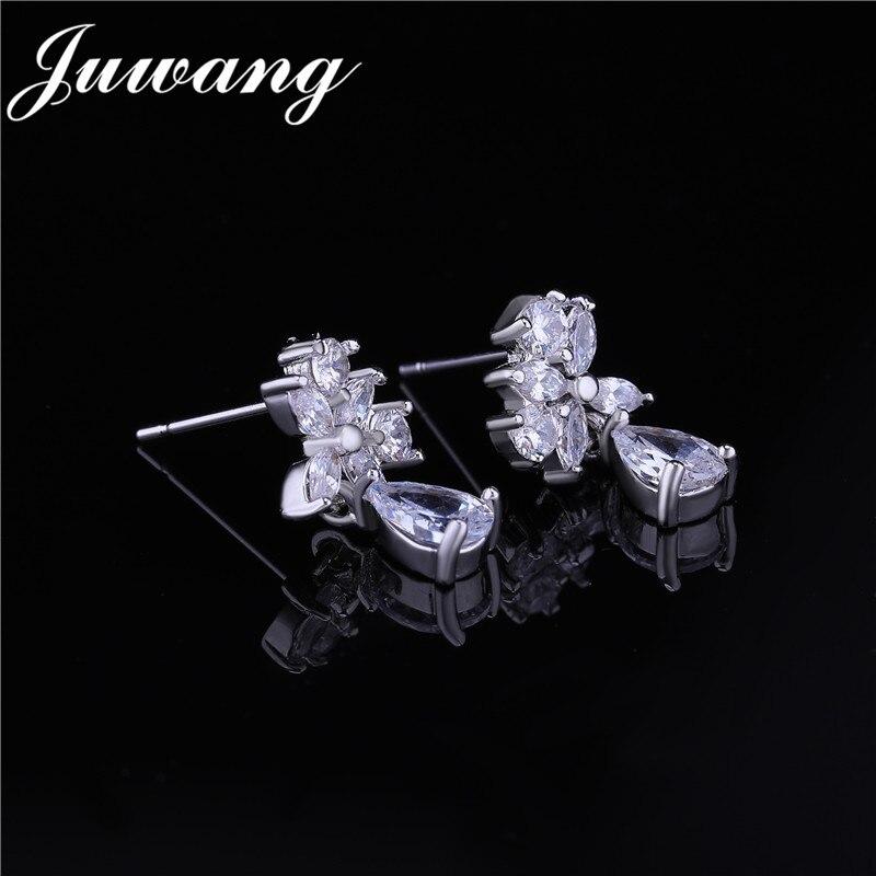 JUWANG-colliers et boucles d'oreilles de marque CZ 0 fleur en cristal pour mariée, mariage, boucles d'oreilles, couleur argent, Dubai, ensembles de bijoux pour femmes 2