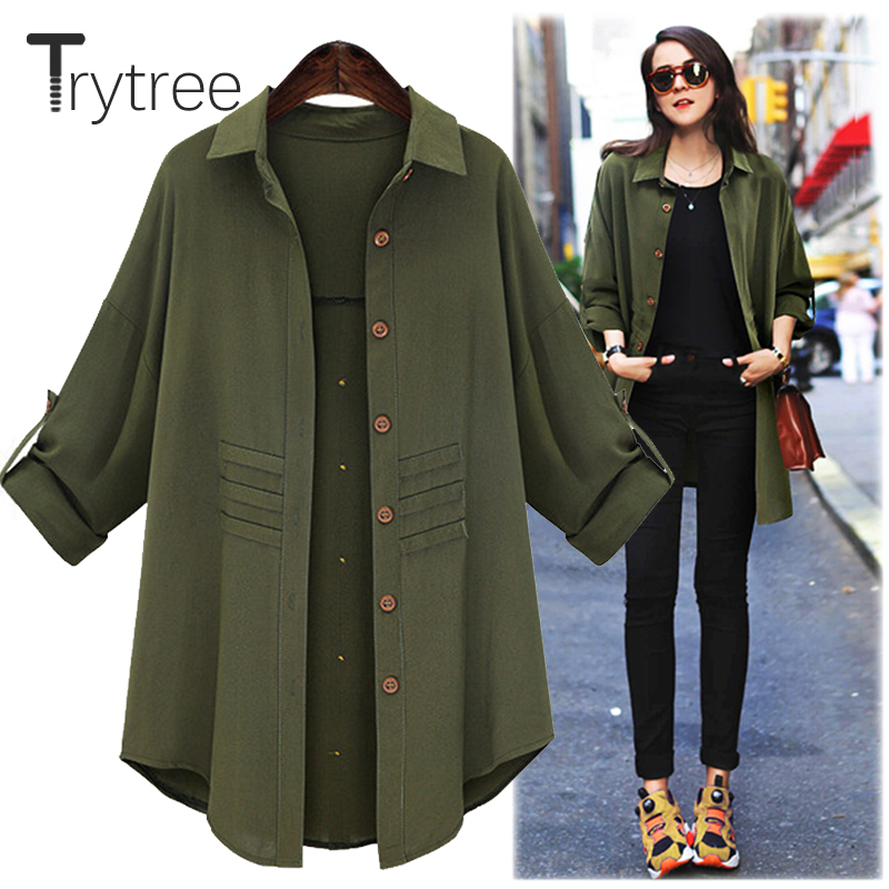 Trytree Summer Autumn Women Long Blouse Casual Polyester Shirt Turn-down Collar Army Black Tops Clothes Casual Solid Shirts
