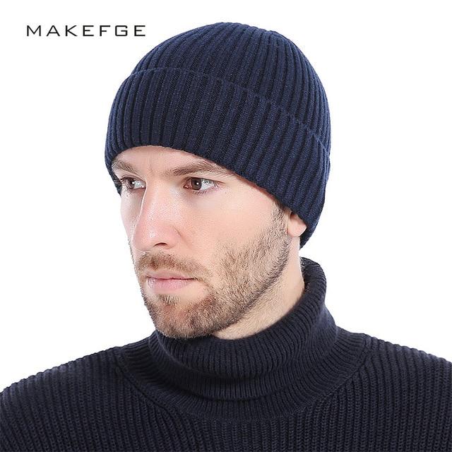 61223bbf0314a 2018 NEW Wool Beanies Knit Men's Winter Hat Caps Skullies Bonnet Winter Hats  For Men Women Beanie Warm Baggy Outdoor Sports