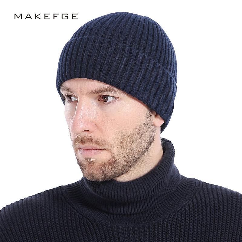 2019NEW Wool   Beanies   Knit Men's Winter Hat Caps   Skullies   Bonnet Winter Hats For Men Women   Beanie   Warm Baggy Outdoor Sports