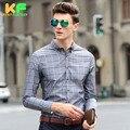 High Quality Men Shirt Long Sleeve Linen Cotton Plaid Dress Man's Business Clothing TurnDown Collar Social Brand Shirts MDSS1501