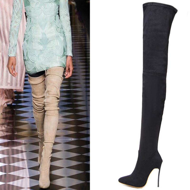 Boussac Sexy Pointed Toe Long Over the Knee Boots Strange Heel Women Winter Shoes Zip High