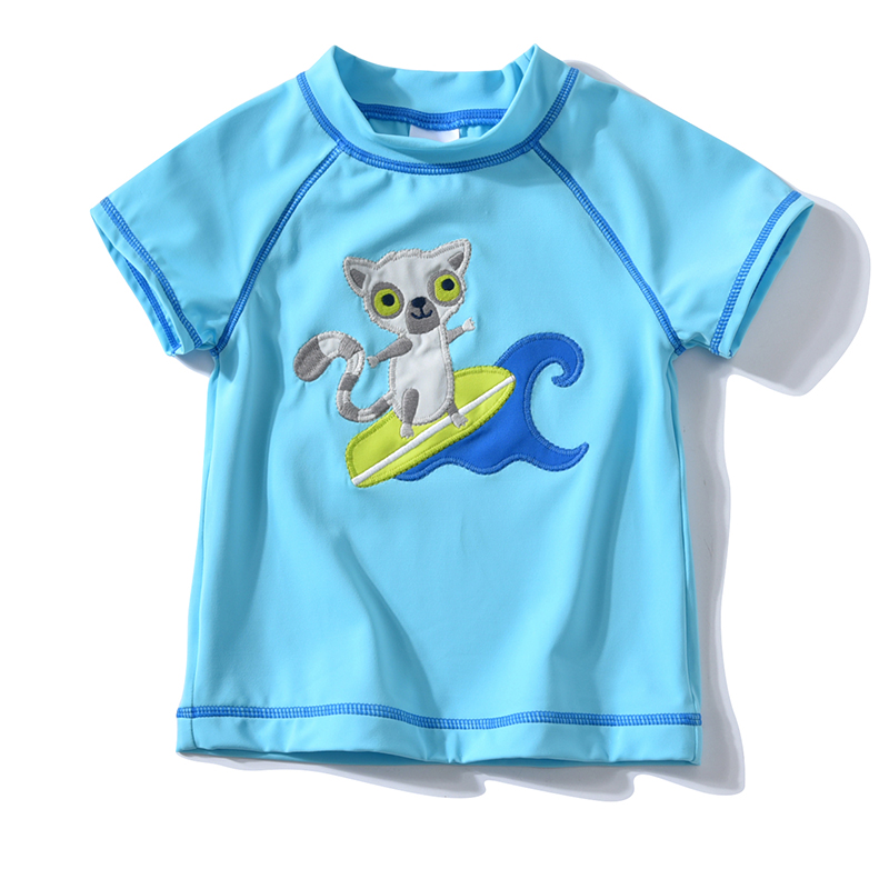 1Pcs Kids Swimwear Baby Boy Clothes Cartoon Short Sleeve T-shirt Children Bathing Suits Summer Beach UV Protection Swimsuit Tops