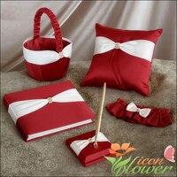 5Pcs/Set Satin Wedding Crystal Ring Pillow Guest Book +Pen+Garter Flower Girls Basket Set Wedding Bridal favors supplies