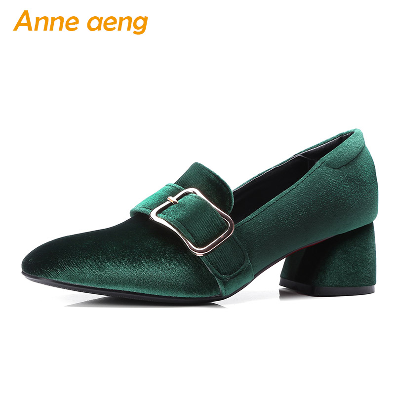 Spring/Autumn Women Pumps 5cm Middle Heels Square Toe Slip-On Buckle Fashion Sexy Ladies Women Shoes Green Pumps Big Size 33-43 new fashion spring autumn women shoes square toe patent leather med heels women pumps dress shoes small big size 32 46 0154