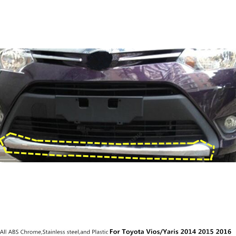 For Toyota Vios/Yaris/sedan 2014 2015 2016 protection Bumper ABS Chrome trim front head hoods bottom moulding hoods part 1pcs