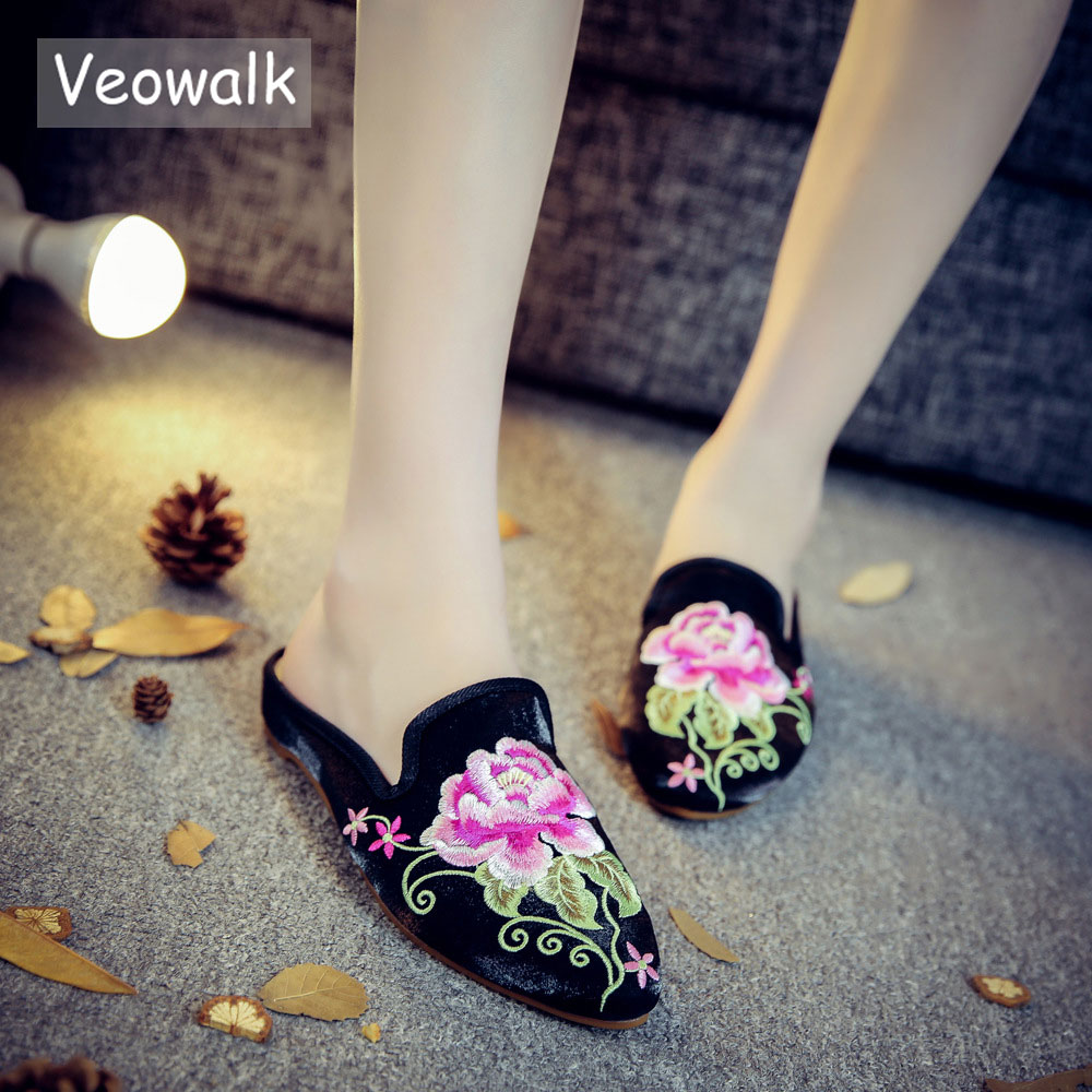 Veowalk Flower Embroidered Women Casual Canvas Flat Slides Slippers Pointed Toe Ladies Comfort Slip-on Summer Cotton Shoes джемпер remix одежда повседневная на каждый день